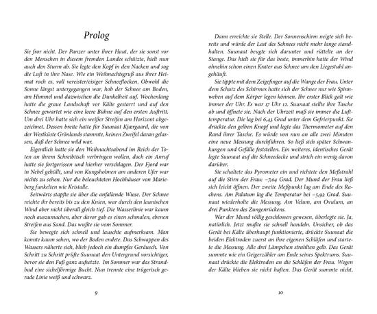 Kursiv gesetzter Prolog in einem Roman