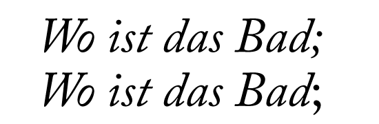 Falsches Semikolon nach kursivem Text.