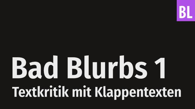 Bad Blurbs 1